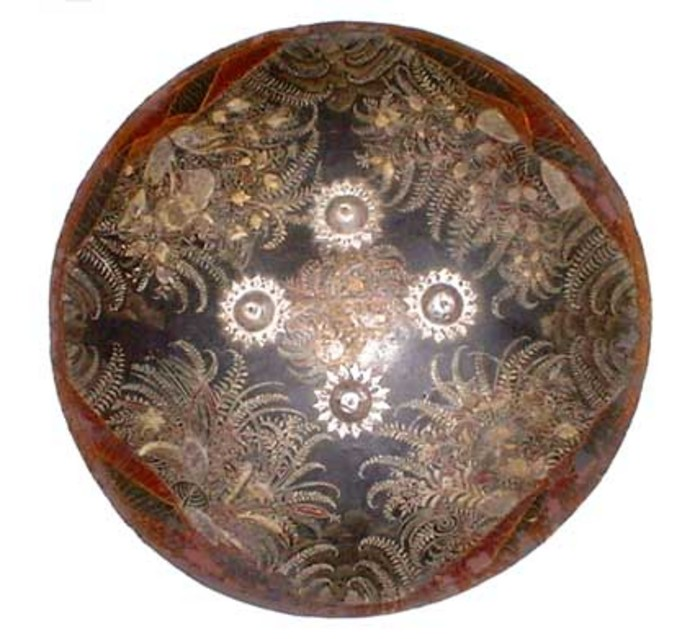 Fine Lacquered Indian Dhal shield with silver mounts ...