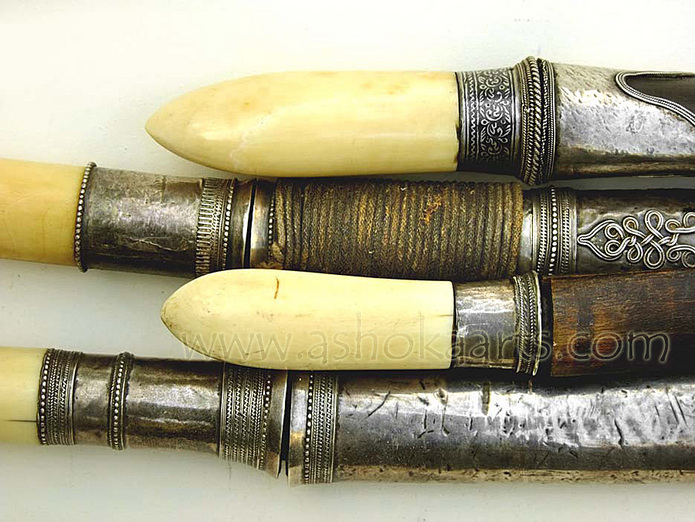 9th century group of Ivory and Silver mounted Burmese Dha knives
