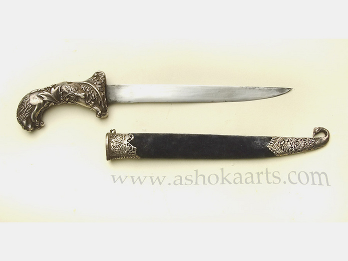 Very fine Silver Lion hilted Khanjar dagger from India ...