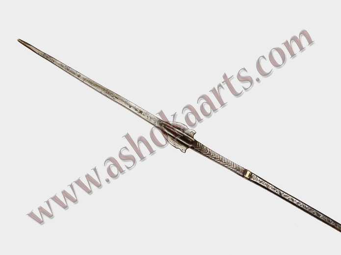 Unusual Rajput lance with flanged head Decorated all steel