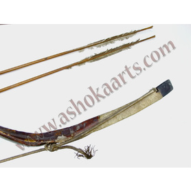 Strung Chinese Manchu recurved bow with arrows - Boxer provenance