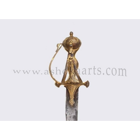 A fine Sikh Indian sword with gold decoration to the Baskethilt, wootz steel blade