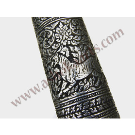 Very fine and large two-handed Thai Dha sword Naga serpents silver engraved