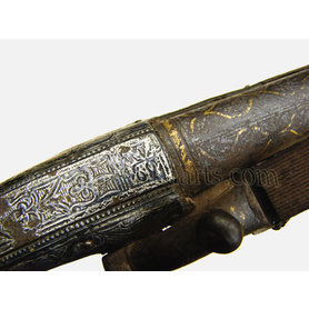 Caucasian Silver and Niello mounted pistol with gold decorated barrel