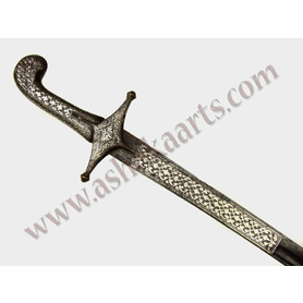 Unusual Turkish or Persian Shamshir with silver decoration