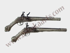 turkish balkan silver gilt filigree pair of holster pistols (3)
