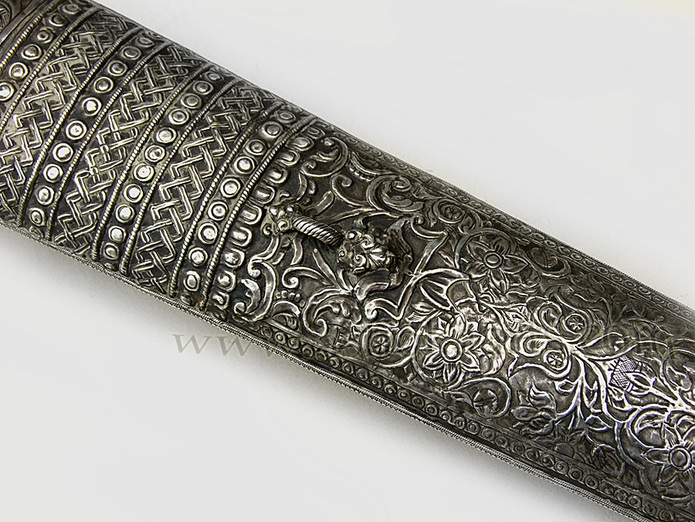 Fine Silver Turkish or Balkan Qama/Kindjal Sword   Fine Antique Swords and Weapons Oriental Arms & Armour for sale from www.ashokaarts.com