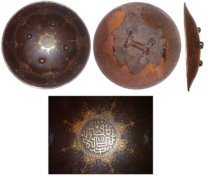 Very large Persian Steel Dhal or Sipar Shield with gold Kufic script