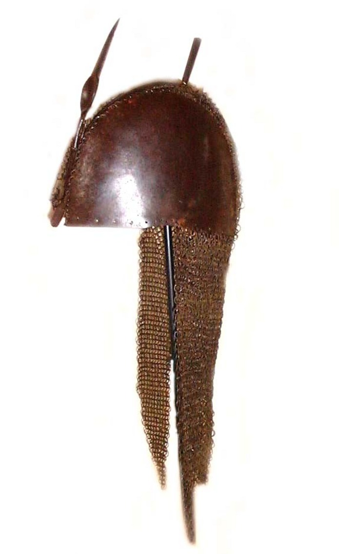 Mahrattan Indian steel Helmet with mail and plate top 17th century