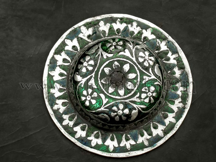 Indian shield dhal with enamel and silver