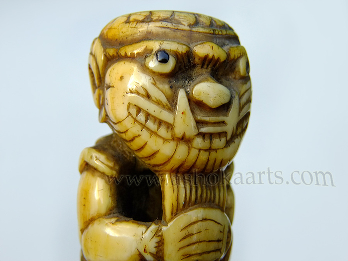 Beautiful Demon carved Ivory Dha knife from Burma