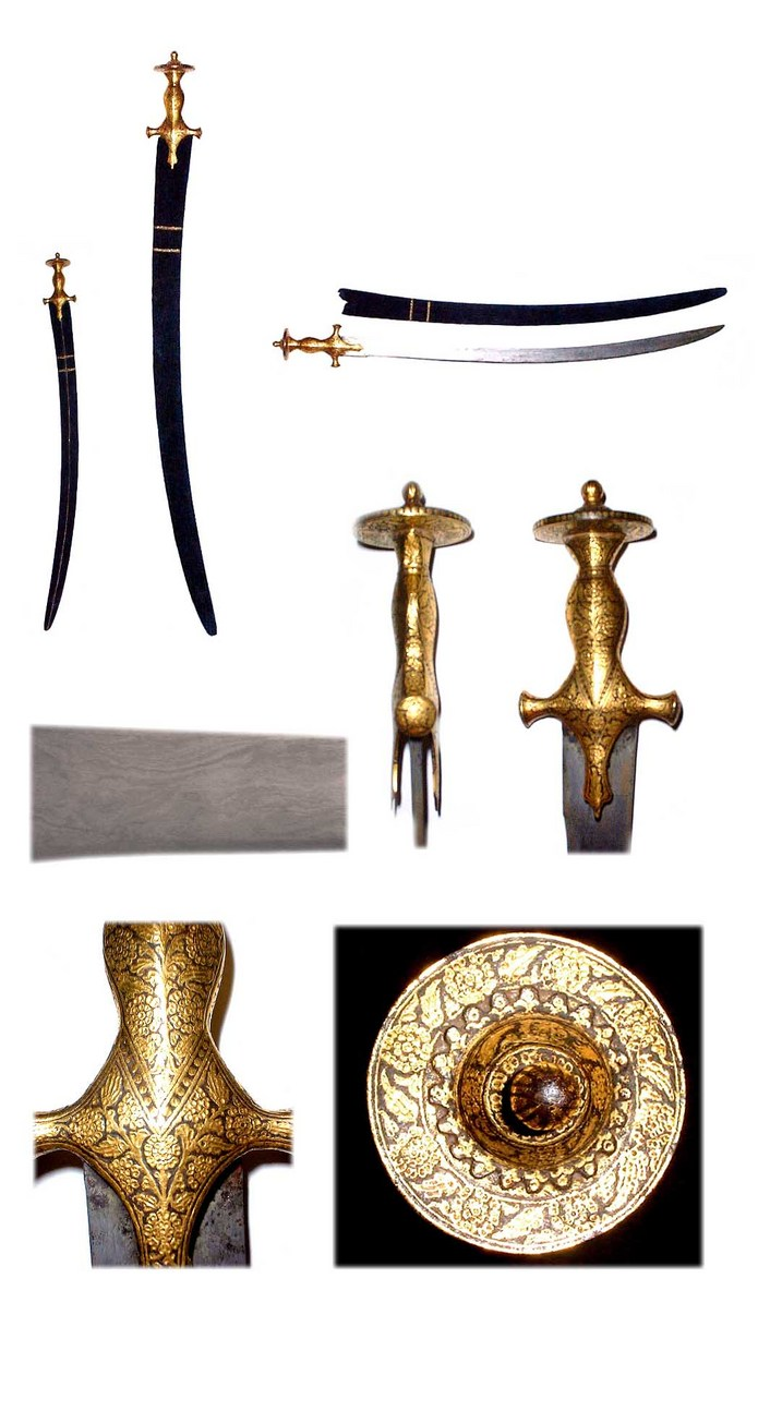 Fine Damascus bladed tulwar sword with Gold inlaid hilt circa 1840