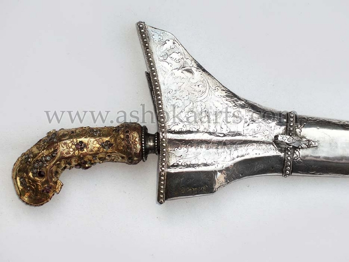 Fine Kris Dagger with gold and diamonds of Madurese form from Banjarmasin South Borneo