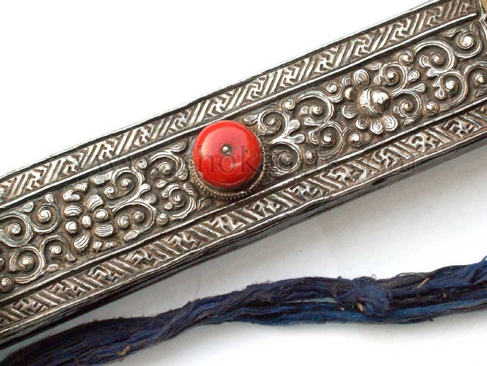Superb antique Tibetan silver and coral mounted broadsword