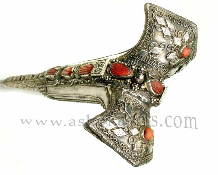 Silver Antique Turkish Yataghan sword with red coral and gold damscening