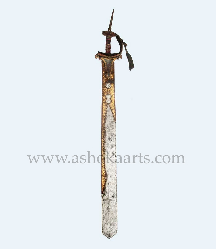 Antique Indian Khanda sword with Gold Inlay
