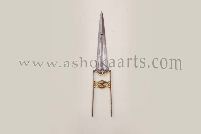 Gold decorated Antique Indian Katar Punch-Dagger with wootz blade