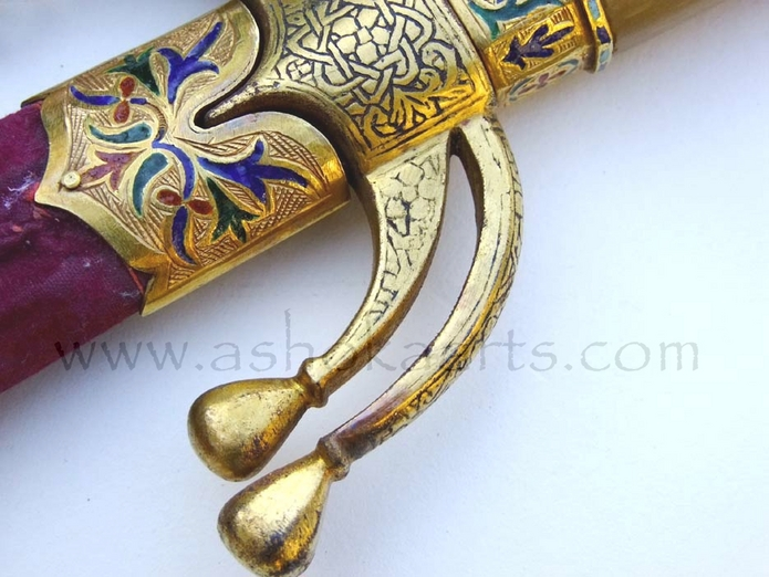 Moroccan Nimcha or Saif sword Mounted with Gold and Enamel