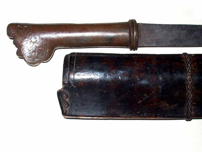 Very early Iban Parang Pedang type sword with brass hilt