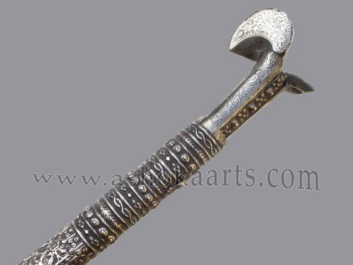 A good Balkan or Turkish Yataghan sword mounted with silver and gold circa 1840