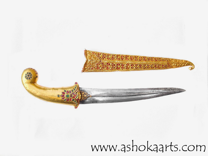 Very Fine Mughal Gold Khanjar dagger with Rubies and ...