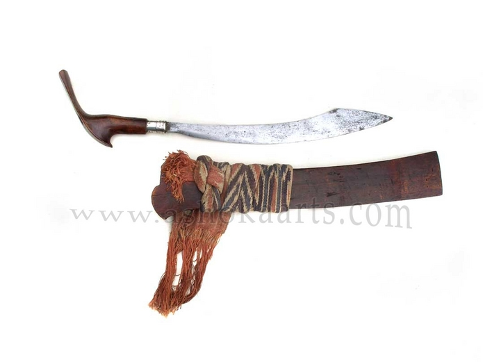 A rare Moro Pirah knife complete with its sheath from Sulu or Mindanao, Southern Philippines