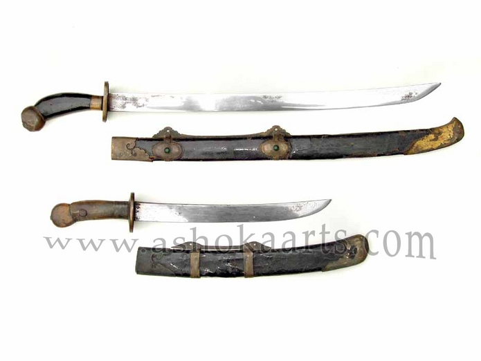 Two nice antique Chinese Dai swords with gold decorated details and inlaid stones circa 1820