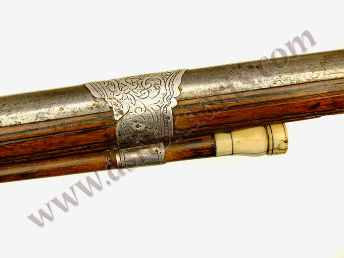 Fine Algerian Long musket with silver inlay 19th century ivory tipped ramrod ashoka arts
