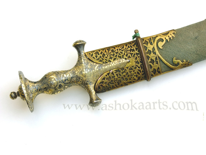 Indian Tulwar sword with Silver-Gilt hilt and Gilt mounted scabbard