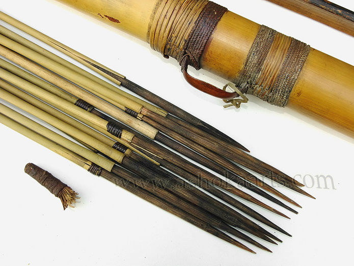 Indonesian or Philippine Bamboo bow, arrows and arrow case