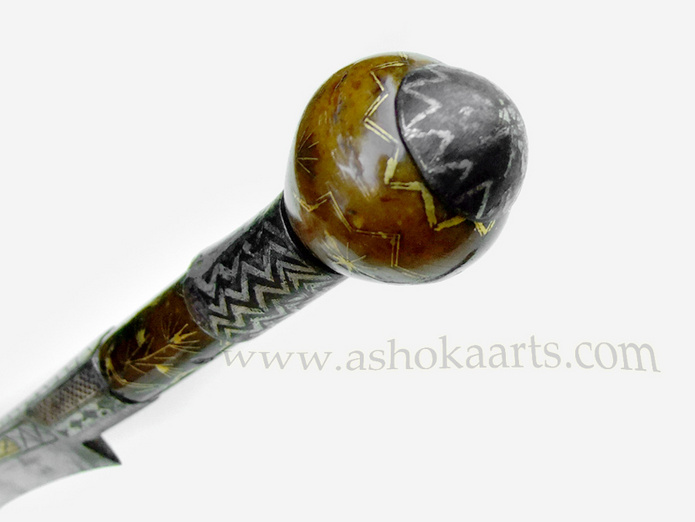 Rare Ottoman North African dagger with Gold Inlaid Jade hilt and Flyssa blade