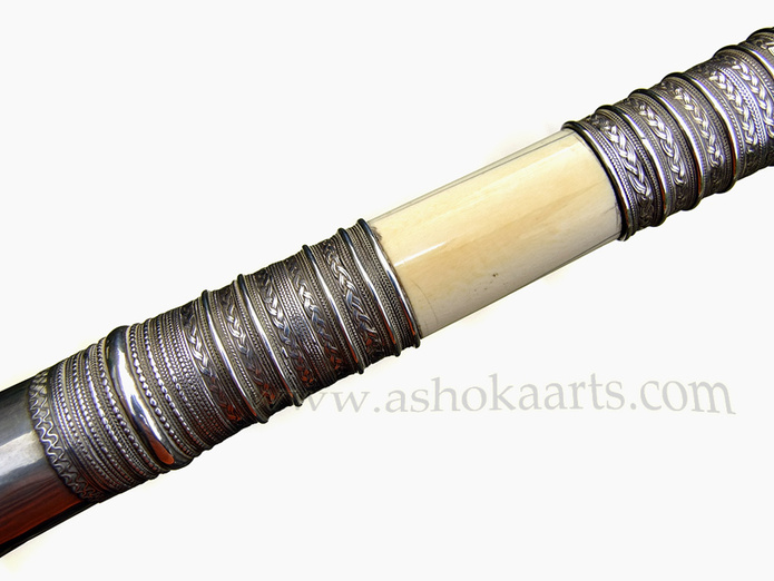 Good quality Thai Dha sword mounted with silver and ivory 19th Century