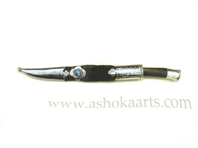 Antique Silver and Niello Knife from Bukhara with inlaid turquoise stone