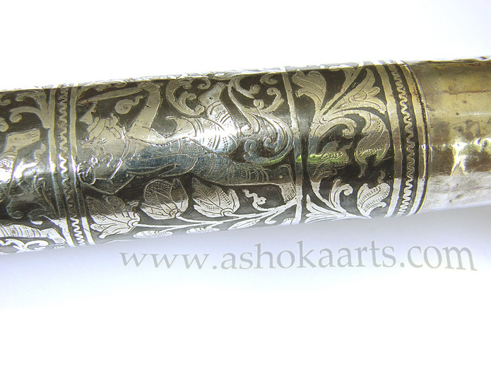 Very fine Antique Silver Inlaid Burmese Dha sword
