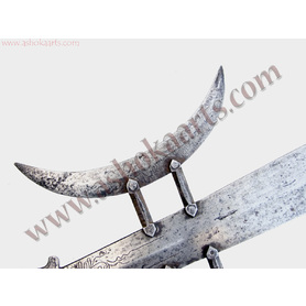 Qing Chinese Halberd Polearm head with two crescent blades