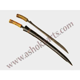 Two Karo Battak swords with horn hilts