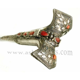 Ottoman Yataghan Sword with silver chiselled scabbard and hilt red coral inlay