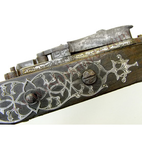 Algerian 18th century Long rifle Snaphaunce Miquelet with silver Dated