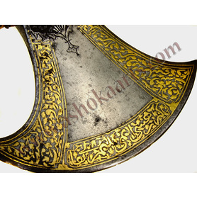 Fine Persian War axe Tabarzin with gold