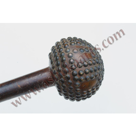 fine zulu knobkerrie club with inlaid studs or tacks