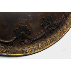 Steel Indian shield with goldwork decoration