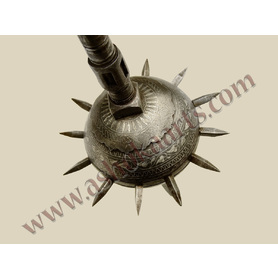 Indian Spiked Mace with silver decoration