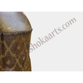 Fine Indo Persian Wootz steel Top helmet with gold and ganga jamni mail skirt