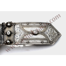 Large Caucasian Belt buckle with Silver niello