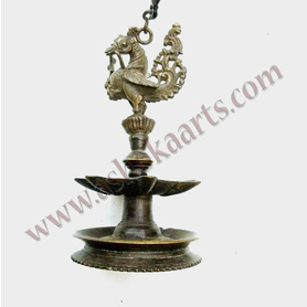 South Indian bronze hanging oil lamp