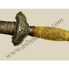 Very Fine Vietnamese Kiem sword with carved handle and silver mounts 19th century